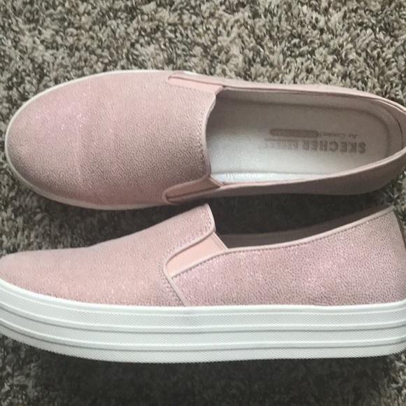 Womens Skechers Platform Slip Ons Pink